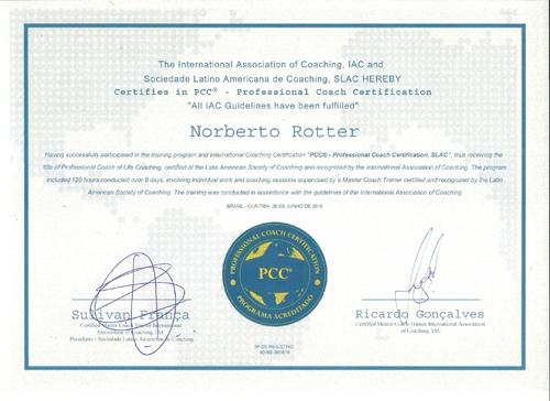 Norberto Rotter é Professional Coach Certified (PCC®) certificado pela Sociedade Latino Americana de Coaching